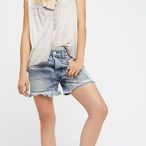 Free People Relaxed & Patched Denim Shorts Hi Rise